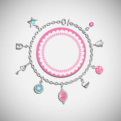 Vector doodle with charm bracelet