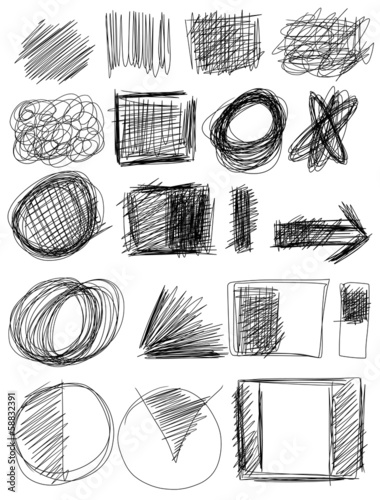 Doodle, Set hand drawn shapes, circle, square, triangle