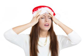 Stressed christmas woman having headache
