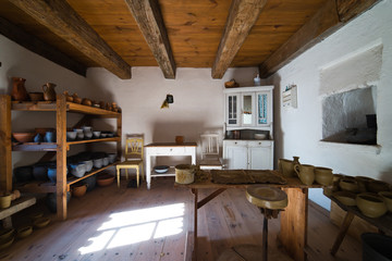 Inside of old rural home in Poland XIXth century - pottery works