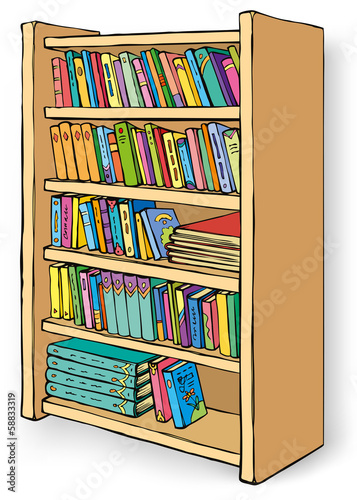 Vector illustration. Bookcase with varied collection of books