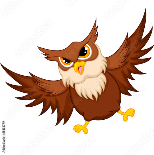Owl cartoon flying