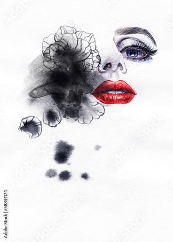 Beautiful woman. watercolor illustration © Anna Ismagilova