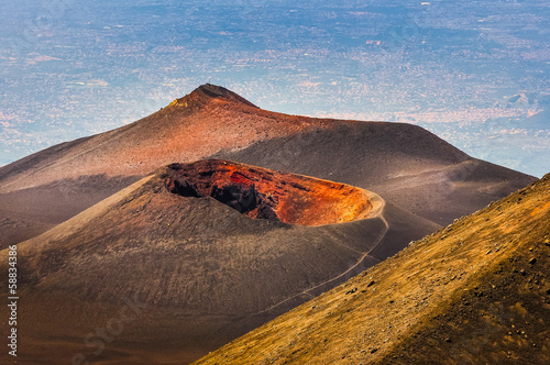 Foto op Aluminium Vulkaan Colorful crater of Etna volcano with Catania in background, Sici