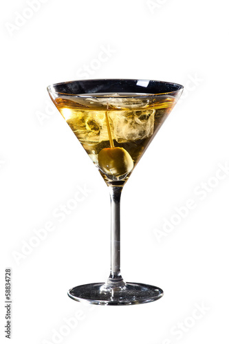 Olive and martini cocktail isolated on white