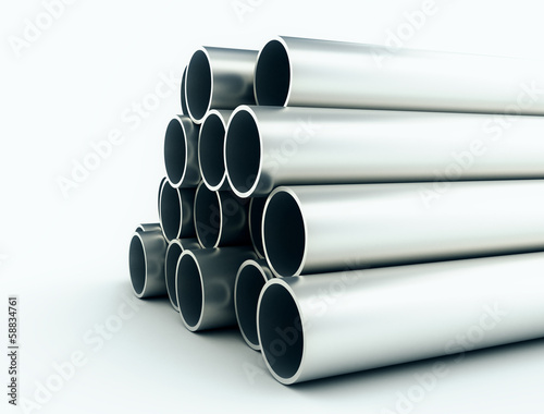 Close up of indutrial metal tubes
