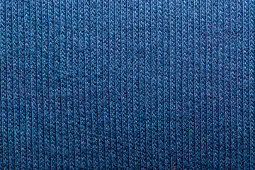Blue knitted fabric texture abstract background