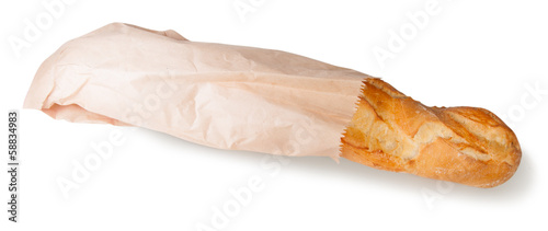 French baguette in a paper bag