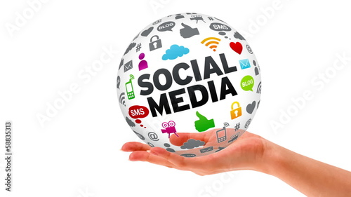 A person holding a Social Media 3D Sphere