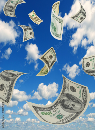 Money in the sky, vertical composition.