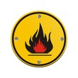 flammable round yellow sign