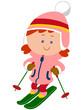 スキーする女の子のイラスト
