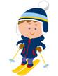 スキーする男の子のイラスト
