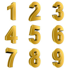 Number from 1 to 9 in gold over white background