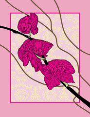 Stylized orchid branch. Vector illustration
