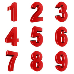 Number from 1 to 9 in red over white background