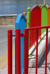 Multi colored fence