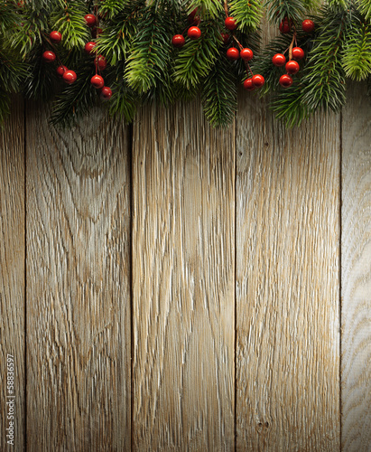 Tuinposter Hout Christmas fir tree on wood texture. background old panels