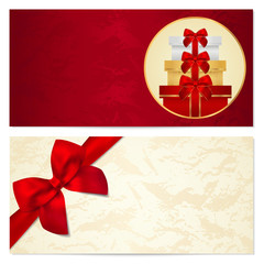 Gift certificate, Voucher, Coupon background. Red bow, gifts