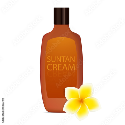 Suntan cream with plumeria (frangipani white flower). Vector