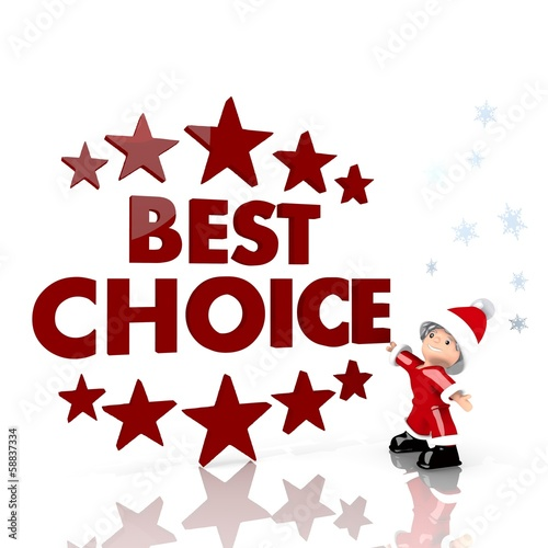 mini santa claus with giant best choice label