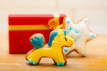 Gingerbread cake pony star decoration gift box. Christmas.