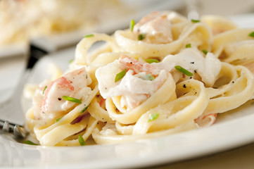 Linguine with a creamy salmon, crab and shrimp sauce.