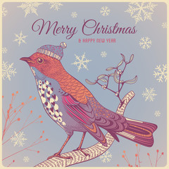 Christmas background with winter bird
