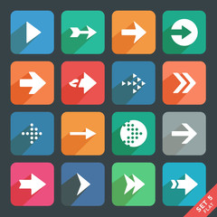 Arrow sign Flat icon set. Dark version
