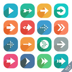 Arrow sign Flat icon set. Light version