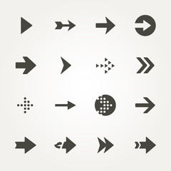 Arrow sign icon set.