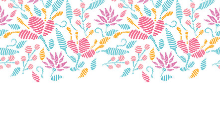 Vector embroidered garden horizontal seamless pattern background