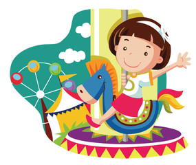 Little girl on carousel horse.