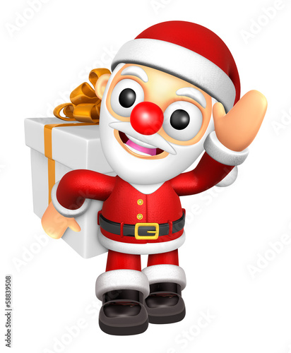 3D Santa mascot the hand is holding a Big Gift Box