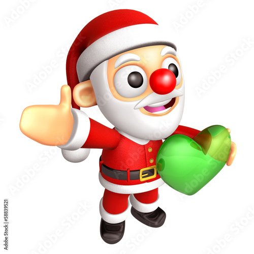 3D Santa Mascot is holding a big Heart