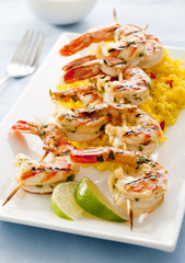 lime cilantro grilled shrimp with saffron rice.