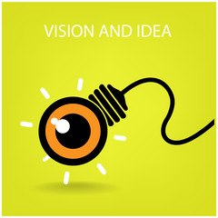 vision and ideas sign,eye icon and business symbol, light bulb s