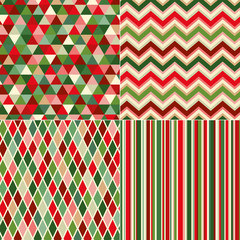 seamless christmas colors geometric pattern
