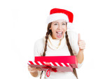 Christmas woman happy with the gift she received