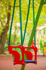 Wood chain swings on kids playground