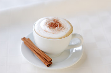 Cappuccino with copy space.