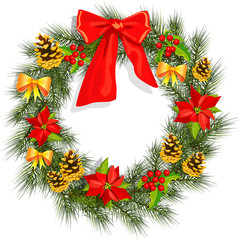Christmas wreath with holly and poinsettia