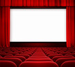cinema screen with open curtain and red seats - 58841128