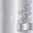 Vector Silver Invitation Card with Snowflakes