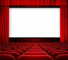Ekran kina z otwartą zasłoną i czerwonych krzeseł