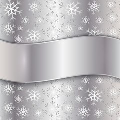 Vector Silver Plate with snowflakes