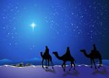 Christmas story. Three wise men go for the star of Bethlehem - 58841372