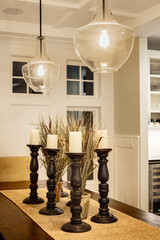 Dining Room Detail in Luxury Home: Dining Room Table, Pendant Li