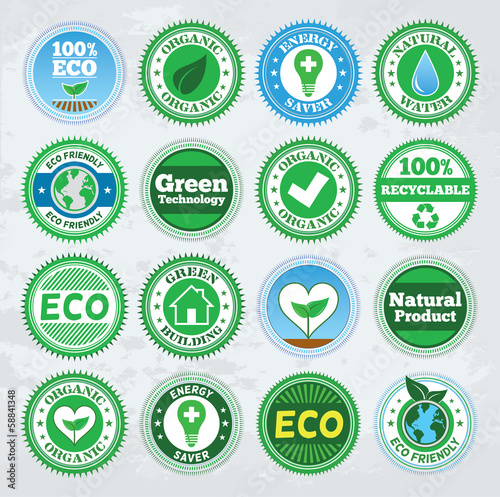 Collection of round eco badges. EPS8.