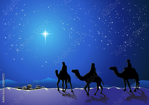 Christmas story. Three wise men go for the star of Bethlehem - 58841372